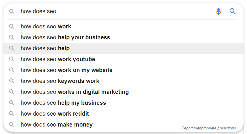 "Google search engine automatic predictions for ""How does SEO"""