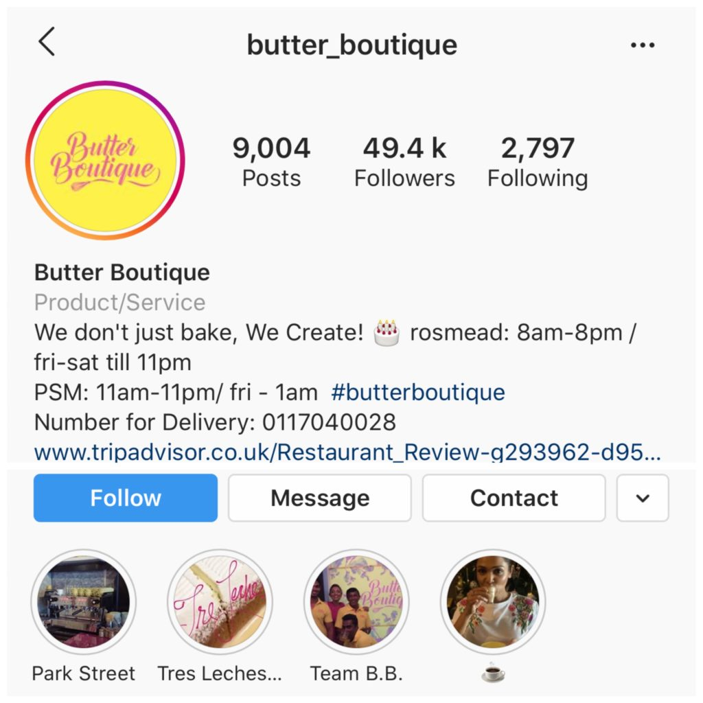Butter Boutique Sri Lanka Instagram
